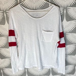 Caslon White and Red Long Sleeve Tee